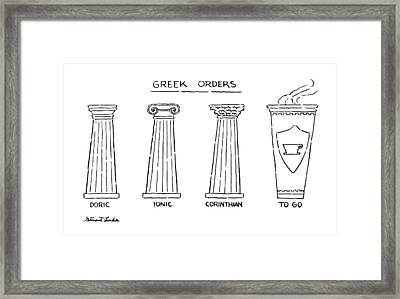 Greek Orders Framed Print by Stuart Leeds