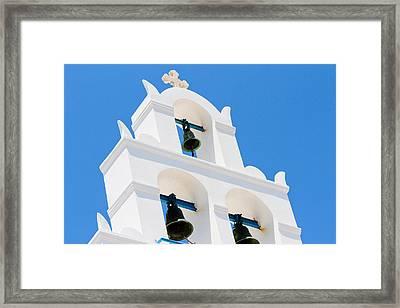 Greek Orthodox Church Bells On Santorini Framed Print by Laura Palmer