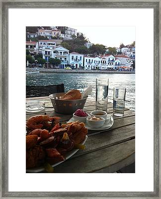 Greek Port With Ouzo Framed Print by Sophia Vitakis