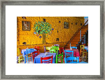 Greek Taverna Framed Print