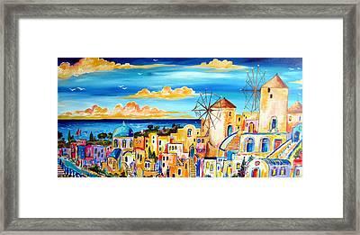 Greek Village Framed Print