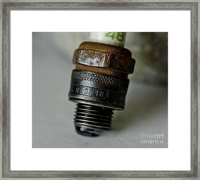 Green 48 Spark Plug Framed Print by Wilma  Birdwell