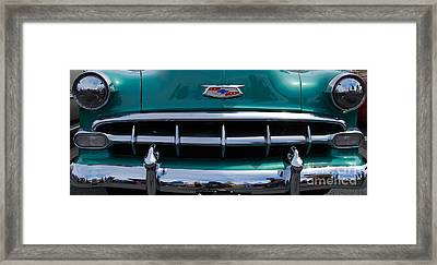 Green '54 Chevy Grill Framed Print by Mark Spearman