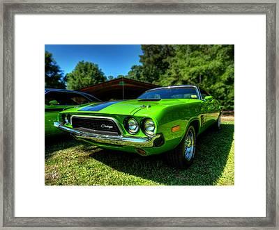 Green '72 Dodge Challenger Rallye 001 Framed Print by Lance Vaughn