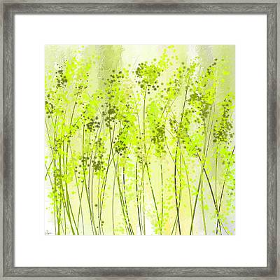 Green Abstract Art Framed Print by Lourry Legarde