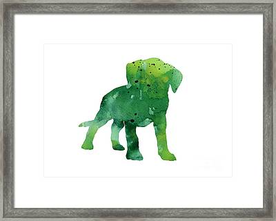 Green Abstract Boxer Puppy Watercolor Art Print Framed Print by Joanna Szmerdt