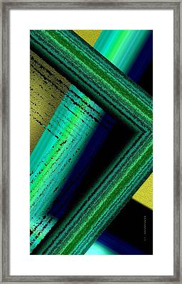 Green Abstract Geometric With Diagonals Framed Print by Mario Perez