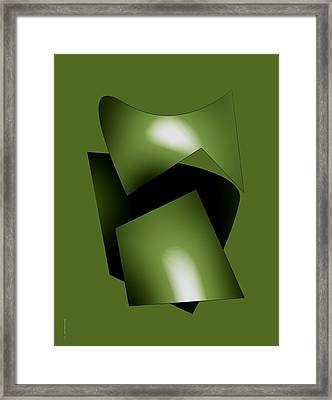 Green Abstract Geometry Framed Print by Mario Perez