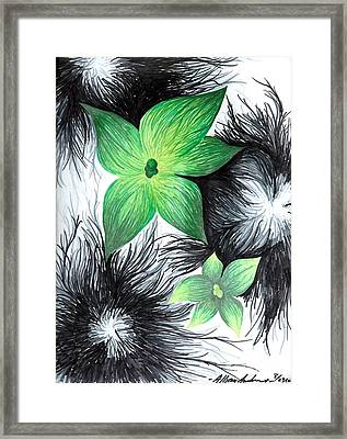 Green Framed Print by Allyson Andrewz