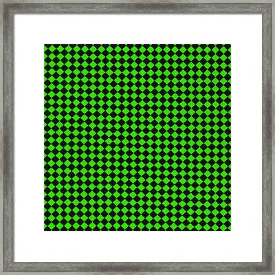 Green And Black Checkered Pattern Cloth Background Framed Print by Keith Webber Jr
