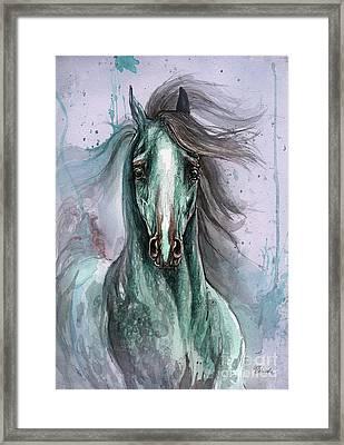 Green And Blue Arabian Horse Framed Print by Angel  Tarantella