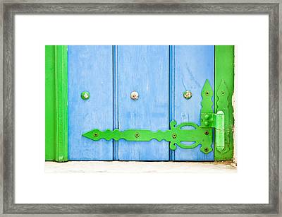 Green And Blue Shutter Framed Print by Tom Gowanlock