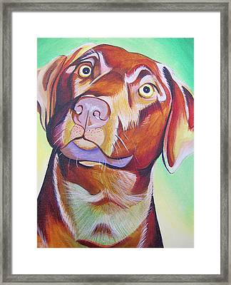 Framed Print featuring the painting Green And Brown Dog by Joshua Morton
