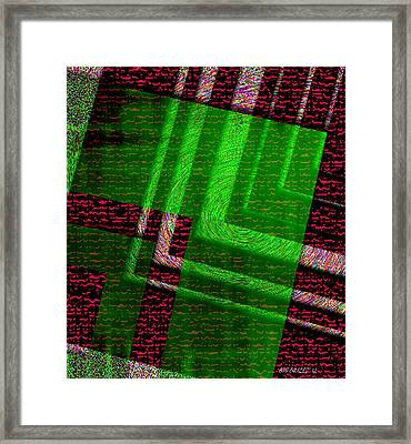 Green And Brown On Geometric Set Framed Print by Mario Perez