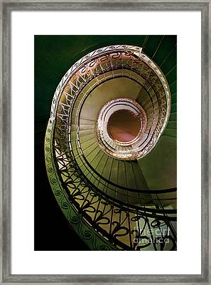 Green And Brown Spiral Staircase Framed Print by Jaroslaw Blaminsky