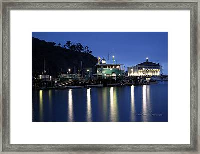 Green And Casino At Night Framed Print by Juan Rodriguez