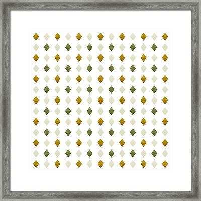 Green And Gold Diamond Pattern Framed Print by Christina Rollo