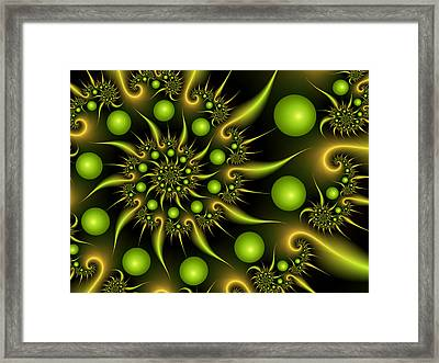 Framed Print featuring the digital art Green And Gold by Gabiw Art
