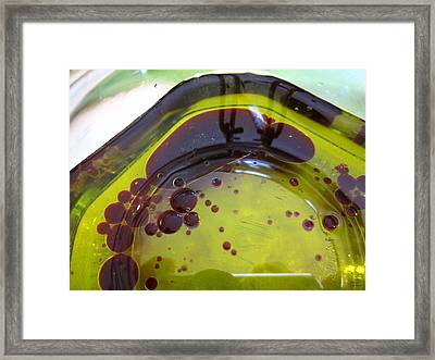 Green And Maroon Shapes Framed Print