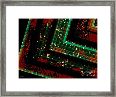 Green And Red Geometric Art  Framed Print by Mario Perez