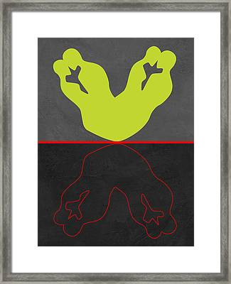 Green And Red Kiss Framed Print