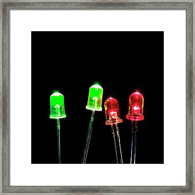 Green And Red Leds Framed Print by Science Photo Library