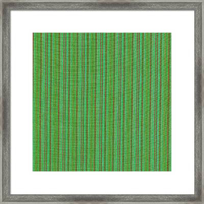 Green And Red Striped Fabric Background Framed Print