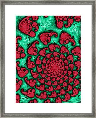 Green And Red Wild Loud And Crazy Fractal Spiral Framed Print by Matthias Hauser