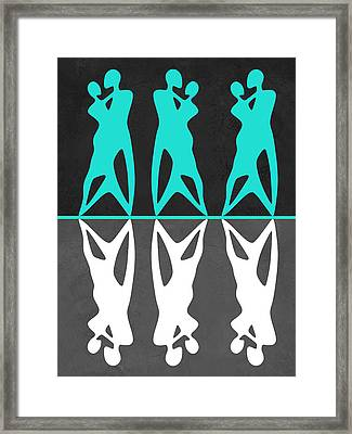 Green And White Couple Dancing Framed Print