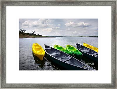 Green And Yellow Kayaks Framed Print