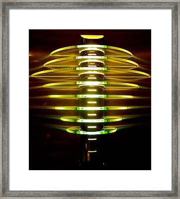 Green And Yellow Light Reflectors Framed Print