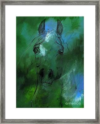 Green Framed Print by Angel  Tarantella