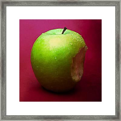 Green Apple Nibbled 1 Framed Print by Alexander Senin
