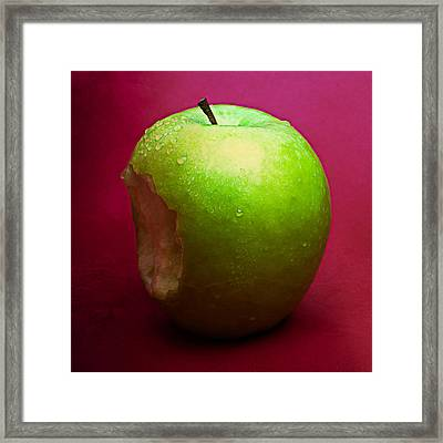 Green Apple Nibbled 2 Framed Print by Alexander Senin