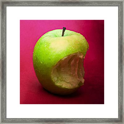 Green Apple Nibbled 3 Framed Print by Alexander Senin