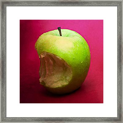 Green Apple Nibbled 4 Framed Print by Alexander Senin