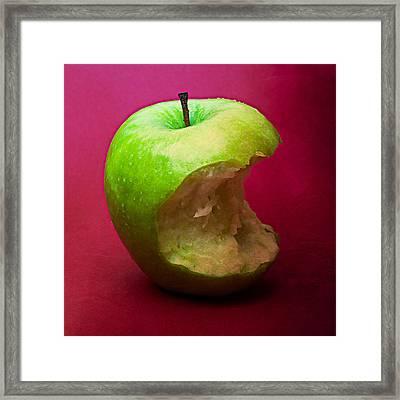 Green Apple Nibbled 5 Framed Print by Alexander Senin