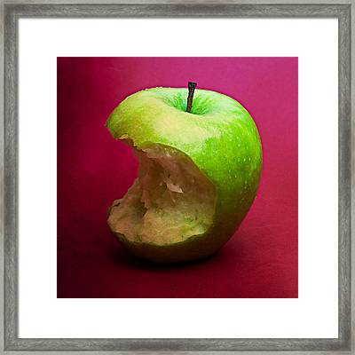 Green Apple Nibbled 6 Framed Print by Alexander Senin
