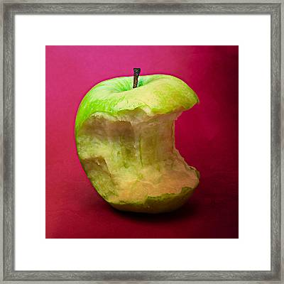 Green Apple Nibbled 7 Framed Print by Alexander Senin