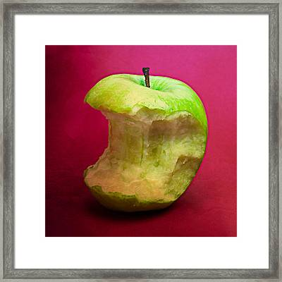 Green Apple Nibbled 8 Framed Print by Alexander Senin