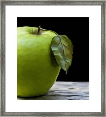 Framed Print featuring the digital art Green Apple by Nina Bradica