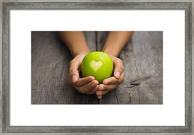 Green Apple With Engraved Heart Framed Print