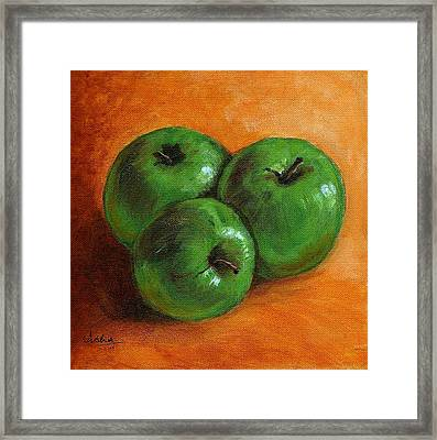 Green Apples Framed Print by Asha Sudhaker Shenoy