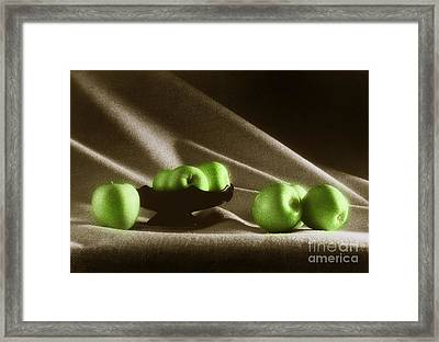 Green Apples Framed Print by Tony Cordoza