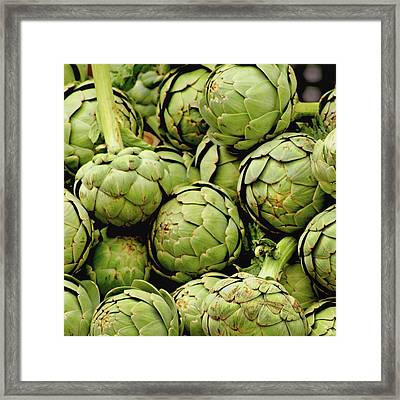 Green Artichokes Framed Print by Art Block Collections