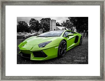 Green Aventador Framed Print