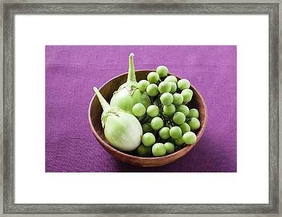 Green Baby Aubergines In Wooden Bowl Framed Print