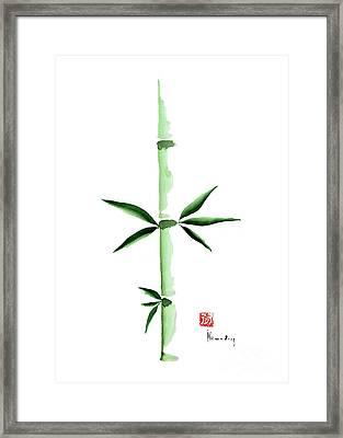Green Bamboo Plant Grass Bamboos Tribe Woody Watercolor Painting Framed Print by Johana Szmerdt