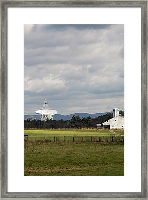 Green Bank Telescope And Farm Building Framed Print by Jim West