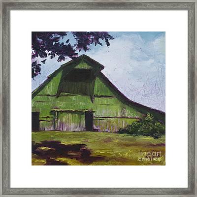 Green Barn Framed Print by Kristin Whitney